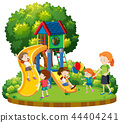 Mother and children at playground 44404241