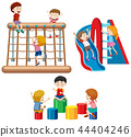 Set of children playing with playground equipment 44404246