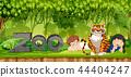 Children with tiger scene 44404247