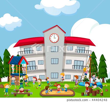 Happy kids playing on playground 44404248