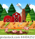 Farm scene with animals and crops 44404252