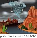 Cyclone storm desert scene 44404264