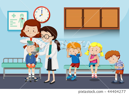 Doctors helping injured children 44404277