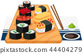 A set of sushi on plate 44404279