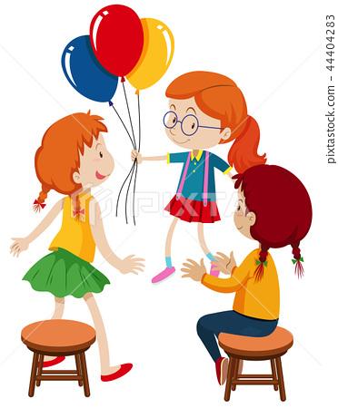 Three girls and balloons 44404283