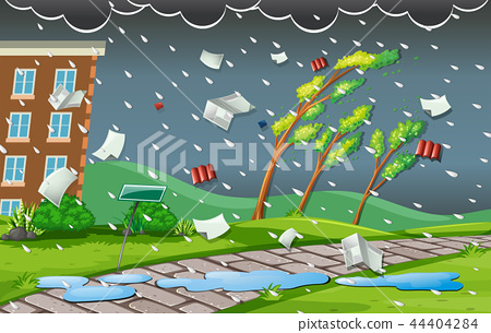 Storm scene with rain and wind 44404284