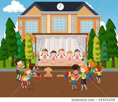 Ballerinas performance on stage scene 44404299