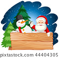 Santa and snowman with wooden board 44404305