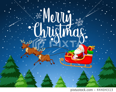 Merry Christmas santa sleigh 44404313