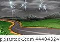 Rainy thunderstorms at night 44404324
