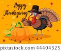 Happy thanksgiving pumpkin and turkey card 44404325