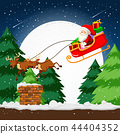 Santa flying in a sleigh 44404352