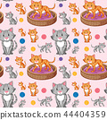 Cat on seamless pattern 44404359