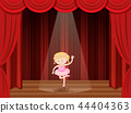 A girl perform ballet on stage 44404363
