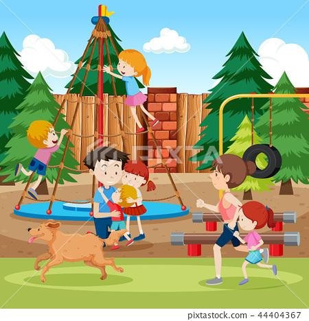 Park and playground scene 44404367