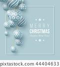 Christmas blue balls holiday background. 44404633