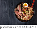 black bowl of Soba noodles with beef 44404711