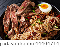 black bowl of Soba with beef and veggies 44404714