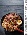 close-up of a bowl of Soba noodles and beef 44404716