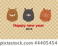 일러스트 소재 : 연하장 2019 디자인 템플릿 돼지해 44405454