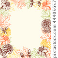 Autumn vintage background with flowers 44405657