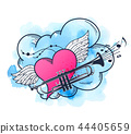 Musical background with heart and trumpet. 44405659