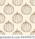 Vintage seamless pattern with pumpkins. 44405672