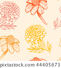 Pattern with orange and yellow flowers. 44405673