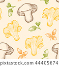 Pattern with forest mushrooms and acorns 44405674