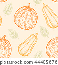 Pattern with pumpkins and green leaves. 44405676