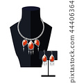 Jewelry Set Necklace Precious Red Stones on Black 44406364