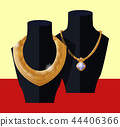 Luxury Golden Necklaces on Black Mannequins Vector 44406366