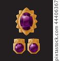 Set jewelry items gold earrings clips purple stone 44406367