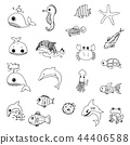 aquatic animals drawn vector 44406588