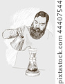 Young barista man. Vector illustration in pencil style. High details sketch of a man in a coffee bar 44407544