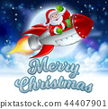 Merry Christmas Santa Claus Rocket Cartoon 44407901