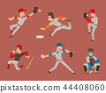 Baseball team player vector sport man in uniform game poses situation professional league sporty 44408060