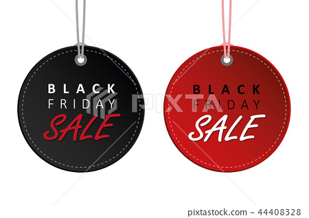 black friday sale black and red hanging label tags for promotion 44408328