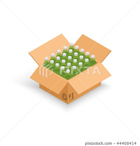 Wine bottles cardboard box vector illustration 44408414