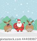 Cute Santa Claus and reindeer cartoon characters 44408987