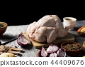 ingredients to prepare a stuffed turkey 44409676