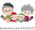 ปู่ย่าตายายกับหลานชายและเสื้อผ้าแมวฤดูหนาวสำหรับสัตว์เลี้ยง 44410275