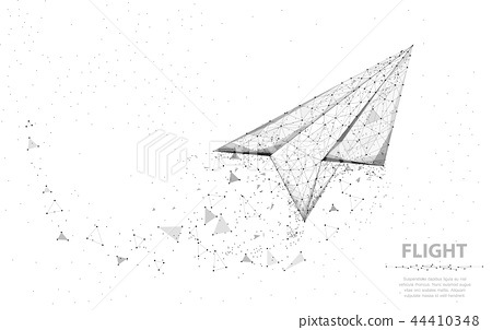 Vector Paper airplane. Abstract polygonal wireframe plane illustration on white background. Dream