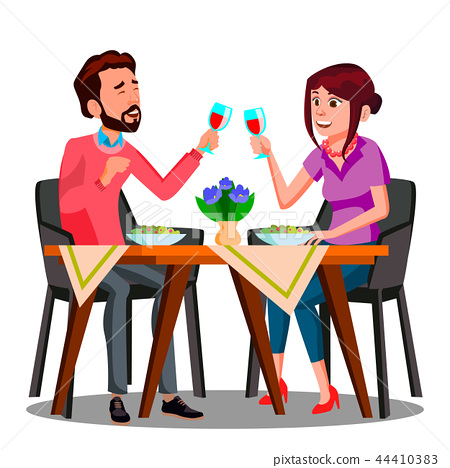 Young Couple Drinking Wine From Glasses In A Restaurant Vector. Isolated Illustration 44410383