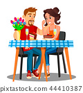 Romantic Dinner For A Young Married Couple At Home Vector. Isolated Illustration 44410387