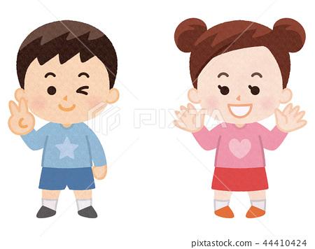 남자와 여자 봄 옷 스톡일러스트 44410424 Pixta
