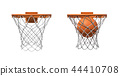 3d rendering of two basketball nets with orange hoops, one empty and one with a ball falling inside. 44410708