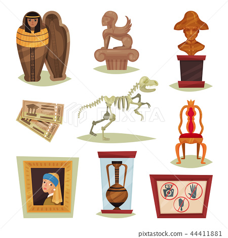 Flat vector set of 9 different museum objects. Ancient exhibits, tickets, prohibition signs 44411881