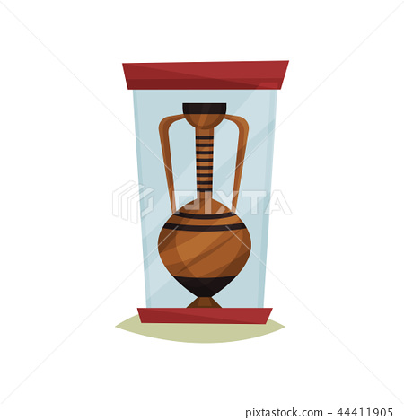 Old ceramic amphora with two handles under glass box. Ancient pottery vase. Exhibit of historical 44411905