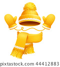 Cute Hat Scarf and Gloves Vector Illustration 44412883
